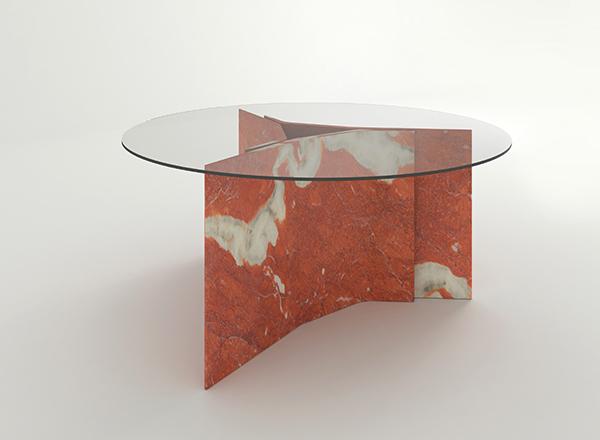 Baldessari e Baldessari, Tavolo Collezione Filo per Luce di Carrara, marmo e vetro
