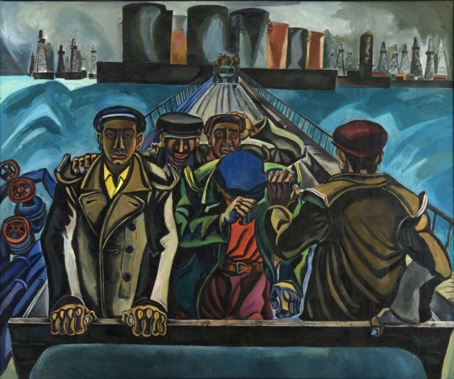 Tofik Javadov, Oil Workers, 1958-1959, oil on canvas, 250x300 cm, Collection of Museum of Modern Art, Baku, Azerbaijan Photo Mirnaib Hasanov Image courtesy of Heydar Aliyev Foundation