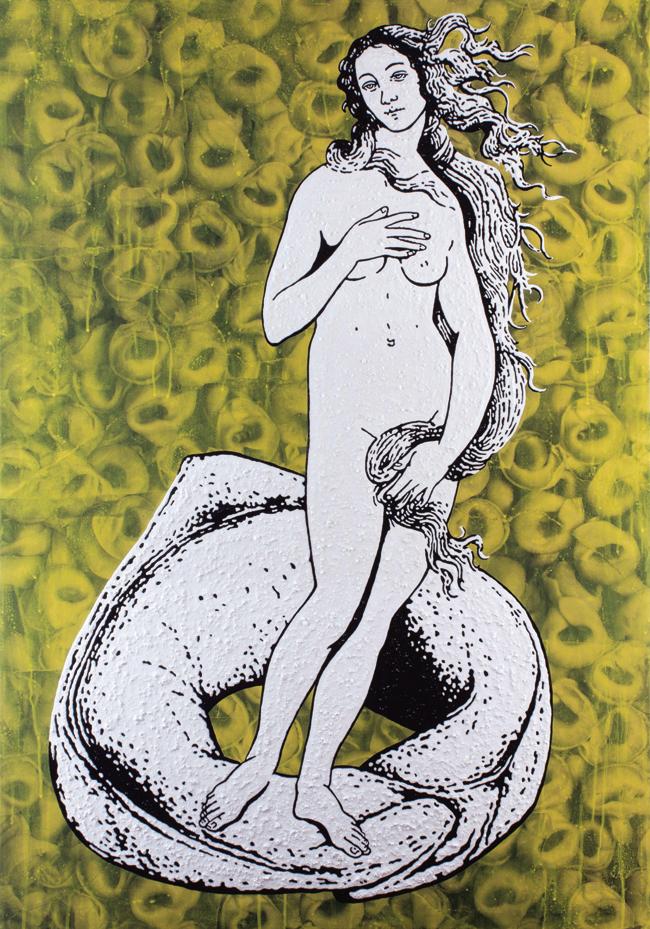 Stefano Fioresi, Tortellino - L'ombelico di Venere, 2015,  collage, acrilico e resina su tela, cm 100x70