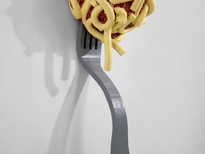 Claes Oldenburg and Coosje van Bruggen, Leaning Fork with Meatball and Spaghetti II, 1994, fiberglass painted with polyurethane, 2 units 248x47x31 cm and 99x131x163 cm, overall installed dimensions 334x130x 99 cm