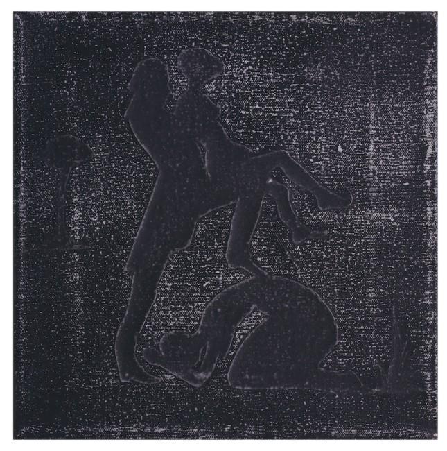 Kara Walker, Kneeling Silhouette, 1995, collage e acrilico su tela, 22.5x25.5 cm Foto Paolo Vandrasch