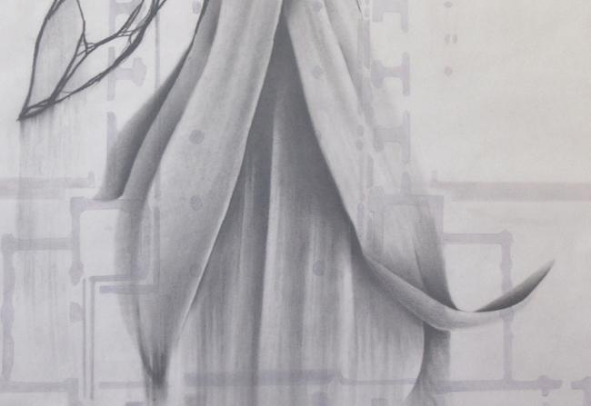 Giulia Dall'Olio, g 19]7 d, 2015, carta da lucido, carboncino, matita e grafite su carta, cm 149x99,5 - dettaglio