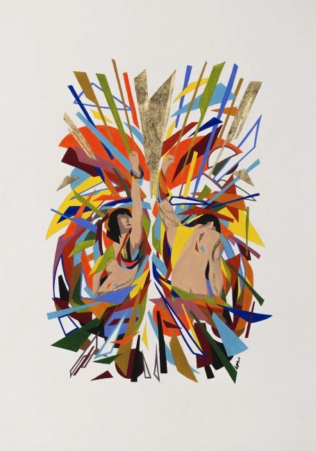 Lorenzo Fioranelli, Colonna Alimentare, 2015, acrilico e foglia d'oro su cartoncino, 50x35 cm Foto credits Andrea Sartori