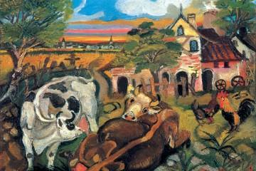 Antonio Ligabue, Fattoria con animali, 1943-44, olio su tavola di compensato, 30x40 cm