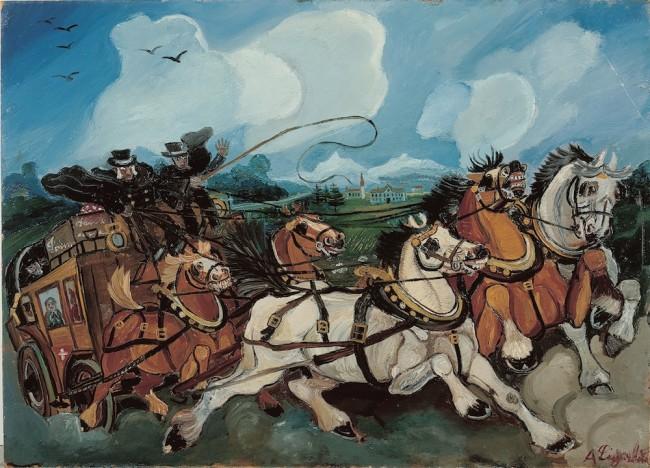 Antonio Ligabue, Diligenza con paesaggio e villa di Casanova Rambelli, 1953-54, olio su tavola di faesite, 68x95 cm