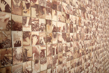 """PREMIO FAENZA OVER 40. Silvia Celeste Calcagno (Italia) 1974 , """"Interno 9 – La fleur coupée"""", 2014,  grès, trasferimento diretto a fresco di immagini ottenute  attraverso fotocopiatrice  cm 200x200x3"""