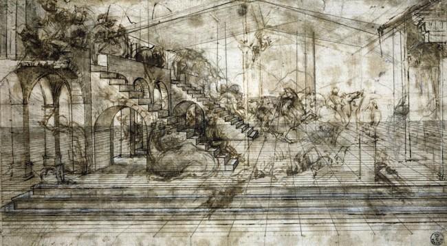 Leonardo da Vinci, Scenario architettonico e rissa dicavalieri (Studio prospettico per l'Adorazione dei Magi), 1481 circa, penna e inchiostro ferrogallico diluito, tracce di punta metallica, lumeggiature a biacca parzialmente ossidata, stilo e compasso su carta preparata color bruno chiaro, 16.4x29 cm, Gabinetto Disegni e Stampe degli Uffizi - Soprintendenza Speciale per il Polo Museale Fiorentino, Firenze