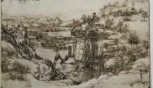 Leonardo da Vinci, Paesaggio, 5 agosto 1473, penna e inchiostro ferrogallico di due diverse tonalità su carta, 19.6x28.7 cm, Gabinetto Disegni e Stampe degli Uffizi - Soprintendenza Speciale per il Polo Museale Fiorentino, Firenze