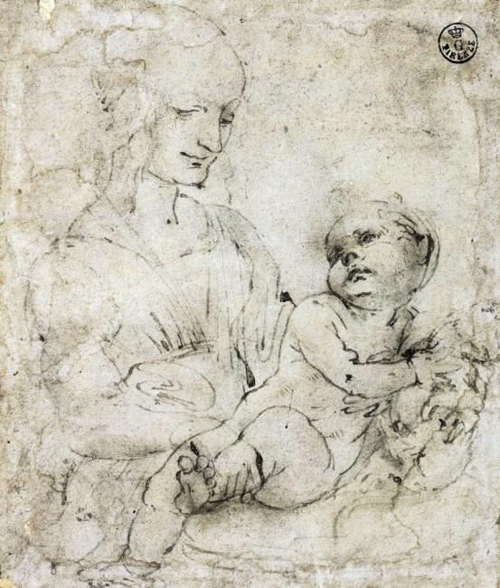 Leonardo da Vinci, Madona col Bambino e un gatto, 1478-81, penna, inchiostro e acquerello su tracce a punta di piombo su carta preparata, 12.6x10.9 cm,  Gabinetto Disegni e Stampe degli Uffizi - Soprintendenza Speciale per il Polo Museale Fiorentino, Firenze