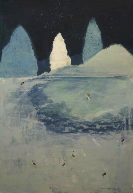 Elisa Bertaglia, Bluebird 1, 2015, olio e pastelli su carta incollata su legno, 100x69 cm