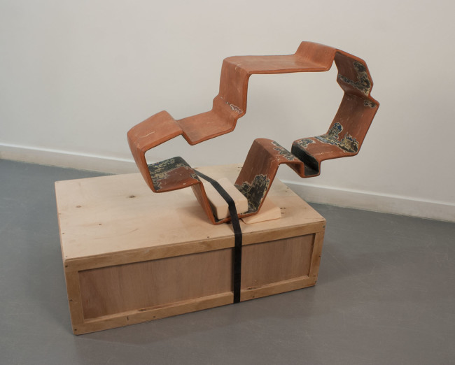 PREMIO FAENZA UNDER 40 EX AEQUO, Thomas Stollar (Stati Uniti/United States) 1980  1900 steps #2  earthenware, wood  cm 100x60x25