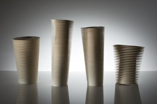 PREMIO CERSAIE,  Nicholas Lees (Gran Bretagna/United Kingdom) 1967  Four Leaning Vessels  2014  Parian porcelain  cm 36x70x20