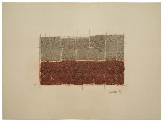 Giuseppe Uncini, Senza titolo, 1958, terra  e matita su cartone, 23x31 cm Courtesy Cardi Gallery, Milano