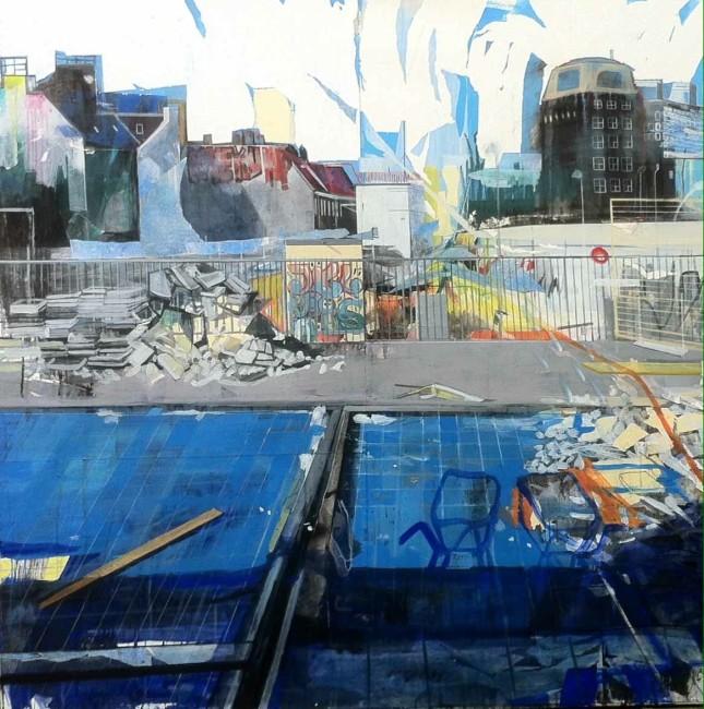Anna Capolupo, Love you Up, 2015, tecnica mista su carta intelaiata, 140x140 cm