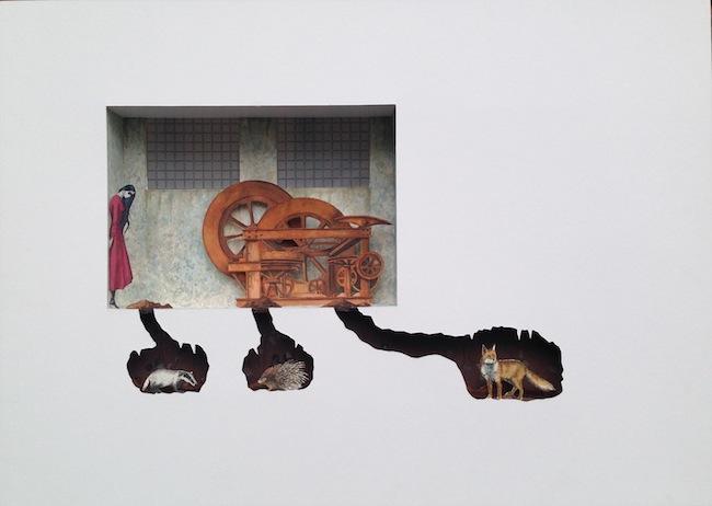 Vanni Cuoghi, Bilocale 2 (Chernobyl's animals), 2015, acquerello e acrilico su carta, cm 50x70