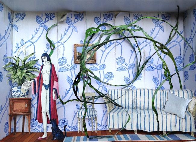 Vanni Cuoghi, Monolocale 11 (Odor di Basilico), 2014, tecnica mista, cm 21x30