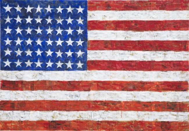 Elaine Sturtevant, Johns Flag for Dea, 1991, encausto e collage su tela, Courtesy Sturtevant Estate, Galerie Thaddaeus Ropac, Paris-Salzburg Foto Amedeo Benestante