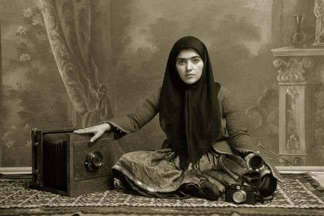 Shadi Ghadirian, Qajar #19 1998 Digital Print 60 x 90 cm. (23,6 x 35,4 inches) Edition of 10 30 x 40 cm. (11,8 x 15,7 inches) Edition of 15 Courtesy Officine dell'Immagine, Shadi Ghadirian