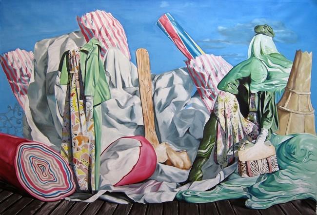 Ubay Murillo, El resto, 2015, olio su tela, 170x250 cm