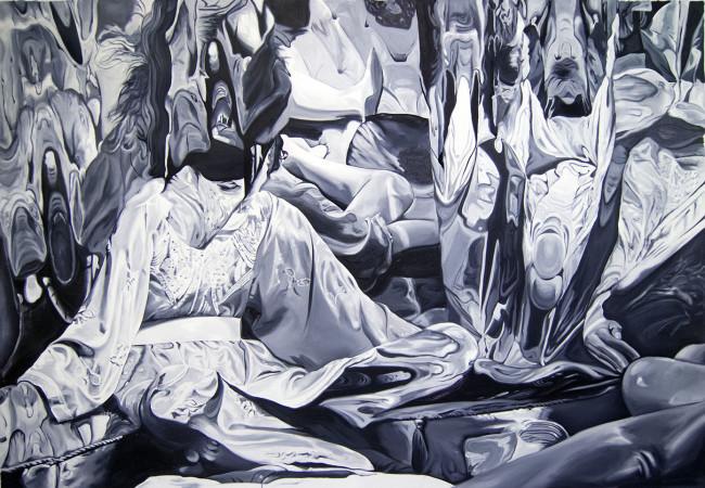 Ubay Murillo, Alles Klar, 2014, olio su tela, 160x230 cm