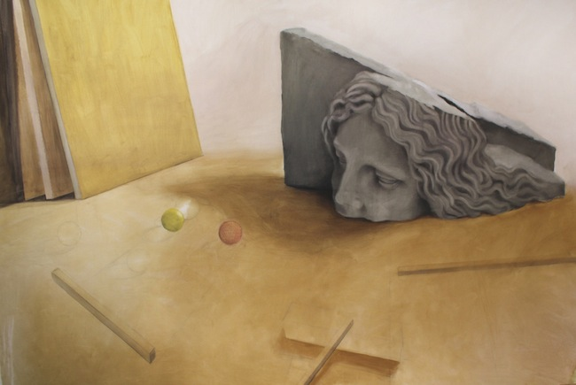 Linda Carrara, Ne inde, nec entem, nec gentem. Ovvero considerare reale ciò che è astratto, pigmenti, medium acrilico e olio su tela di lino, 200 x 3000 cm., 2015, courtesy dell'artista