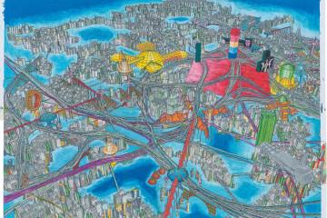 Marco Bolognesi, Propaganda sendai: the city is the future, Photocollage, pastello ad olio, 2014, 142x200 cm