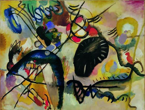 Vassily Kandinsky (Mosca, 1866‐Neully‐sur‐ Seine, Parigi, 1944) Schwarzer Fleck I / Macchia nera I 1912 olio su tela, cm 100 x 130 San Pietroburgo, The State Russian Museum © Mondadori Portfolio/AKG Images