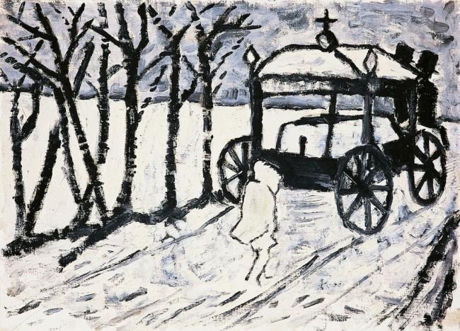 Marco Bellocchio, Funeralino, 1953-1959 ca., olio su tela e faesite,  40x55 cm