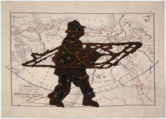 William Kentridge Porter Series: Expedition de Jeune Cyrus et retraite des dix mille (with Wrought Iron) / La serie dei portatori : la spedizione di Jeune Cyrus e la ritirata dei mille (con ferro battuto) 2006-2007 arazzo, seta mohair, ricamo (arazzo progettato da William Kentridge, tessuto da Marguerite Stephens Weaving Studios) / tapestry, mohair silk, embroidery (tapestry designed by William Kentridge, woven by Marguerite Stephens Weaving Studio) Collezione privata / Private collection, Napoli Courtesy Galleria Lia Rumma, Milano-Napoli In comodato a / On loan to Madre · museo d'arte contemporanea donnaregina, Napoli © William Kentridge Photo: Roberto Marossi