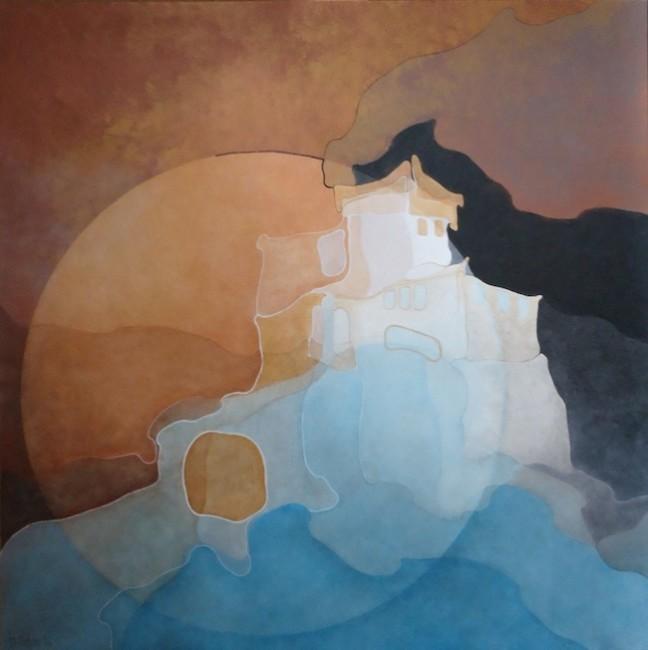 Marina Carboni, Il mare nel castello - Rapallo, 2014, acrilico su tela, 100x100 cm