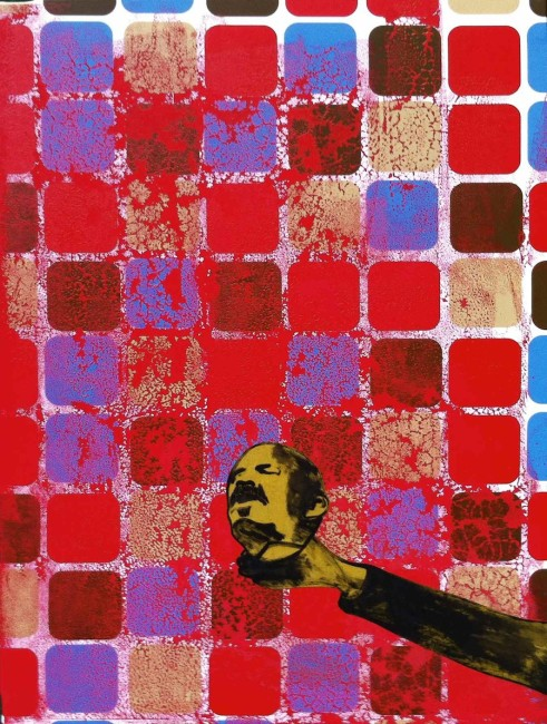 Michael Rotondi, Lenin's death, 2013, mixed media on canvas, 80x60 cm