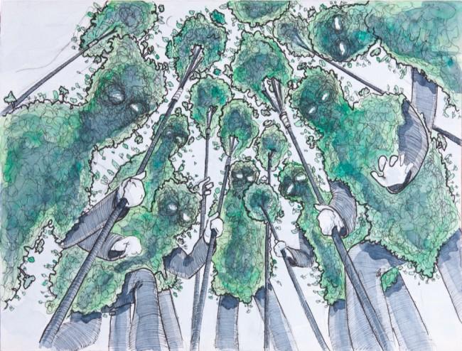 """Michelangelo Frammartino, Bozzetto per la cineinstallazione """"Alberi"""",  2013, acquarello e inchiostro su carta, 24x32 cm"""