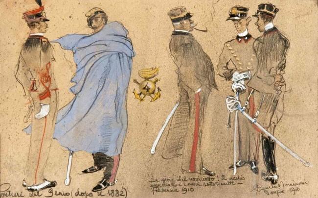 Paolo Caccia Dominioni, Uniformi_Pontieri_14°_16°_Compagnia_IV°_Genio_Pontieri_1916