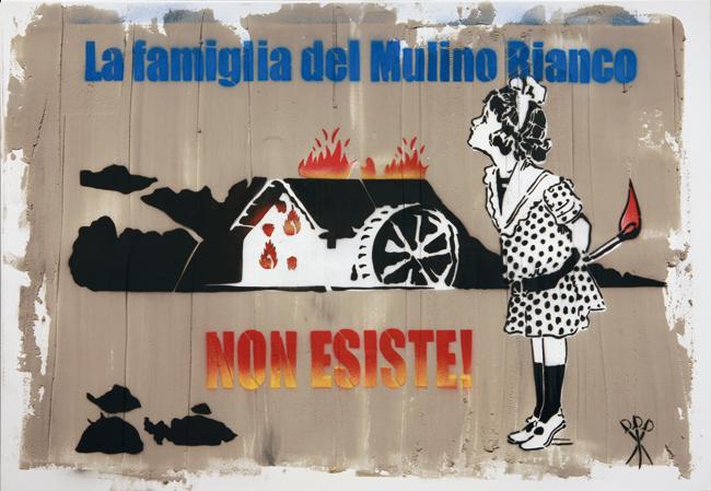 Mr. Savethewall, La famiglia del Mulino Bianco non esiste!, 2014 spray su tela e resina, cm 70x100