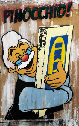Mr. Savethewall, Pinocchio figlio mio!, 2013 spray su cartone, cm 90x56