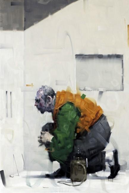 Wainer Vaccari, Le due fessure, 2015, olio su tela, 150x100 cm