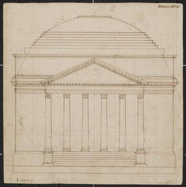 Thomas Jefferson, progetto per Rotunda (facciata), © University of Virginia, Charlottesville, VA