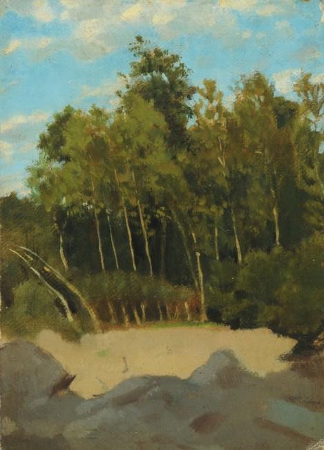 Raffaello Sernesi, Radura nel bosco, 1865 circa, olio su tela riportato su cartoncino, 21x15 cm, Collezione privata