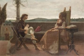 Cristiano Banti, Scena romantica, olio su tavola, 24.5x38 cm, Collezione privata