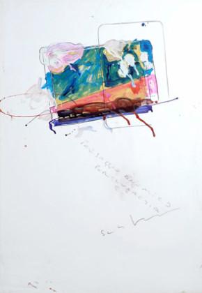 Mario Schifano, Paesaggio anemico (per Lucrezia), 1973-78, smalto e collage su cartoncino, cm 100 x 70, Courtesy Galleria Bagnai, Firenze