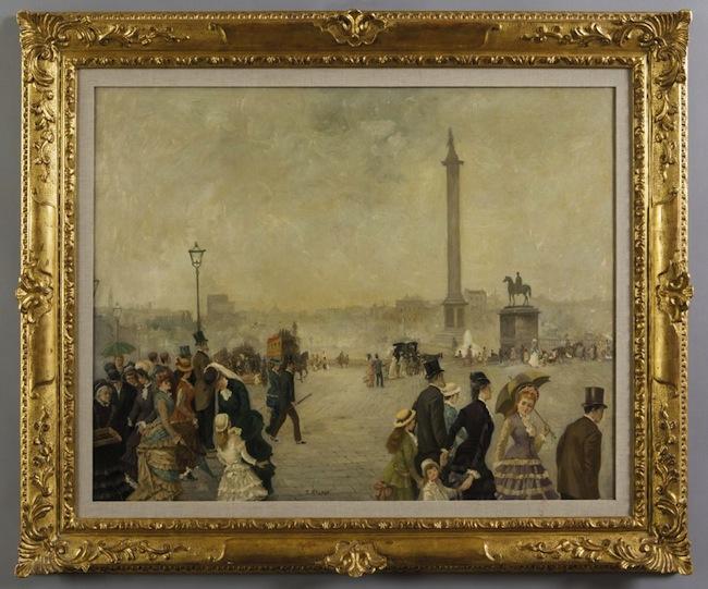 Ernesto Giroux, Veduta di Trafalgar Square, Londra, olio, cm 97x77,5