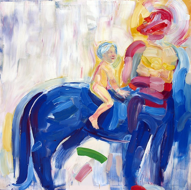 Giovanni Robustelli, Giasone e il Centauro, 2015, tecnica mista su tela, cm 200x200