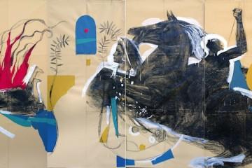 Giovanni Robustelli, Il sogno di Medea, 2015, tecnica mista su carta, cm 560x300