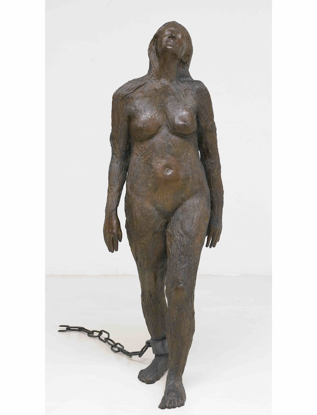 Kiki Smith, Mary Magdalene, 1994, cast silicon bronze and forged steel (152.4 cm x 52.1 cm x 54.6 cm)