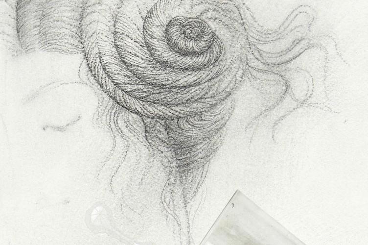 Omar Galliani, Il disegno nell'acqua, 1979-2015, matita su carta, vetro, acqua, 40x30 cm © Luca Trascinelli