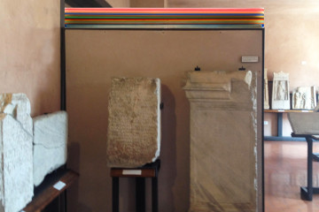 Installation view, Millefiori H1268N 2015 Resina e pigmenti su tela / Resin and pigments on canvas 156 x 8,5 x 21,5 cm courtesy Studio la Città, Verona
