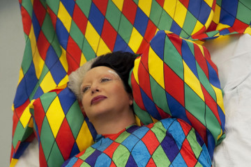 ORLAN, takes wing with Harlequin's Diamons, 2008, Courtesy Prometeogallery, Milano
