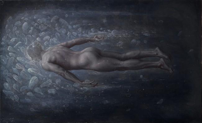 Agostino Arrivabene, Il nuotatore d'abissi, 2012, olio su lino, cm 155x250