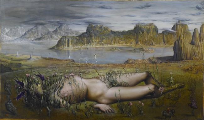Agostino Arrivabene - Il sogno di Asclepio, 2015, tempera e olio su legno antico, cm 74x127