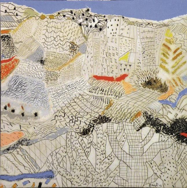 Tullio Pericoli, Combinazioni, 2012, olio su tela, 40x40 cm